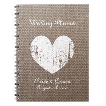 Burlap wedding planner organizer journal notebook