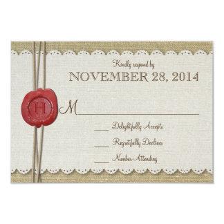 "Burlap Wedding RSVP 3.5"" X 5"" Invitation Card"