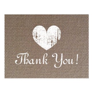 Burlap wedding thank you cards with rustic heart