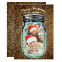 Burlap Western Country Mason Jar Christmas Photo Card