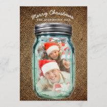 Burlap Western Country Mason Jar Christmas Photo Holiday Card