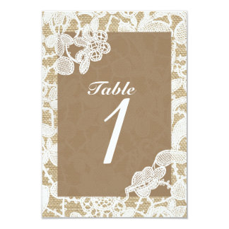 Burlap & White Floral Lace Rustic Table Number Card