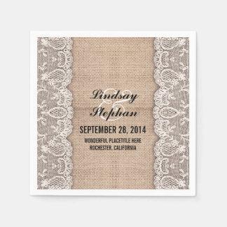 Burlap white lace beautiful elegant paper napkin