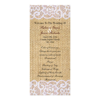 burlap white lace country rustic wedding program custom rack cards
