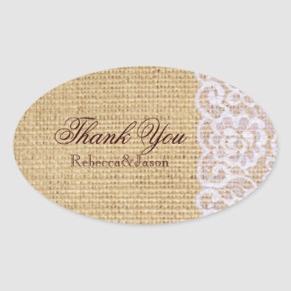 burlap white lace country rustic wedding thank you sticker