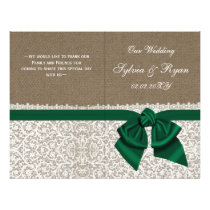 burlap white lace,green folded Wedding program