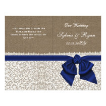 burlap white lace,navy blue folded Wedding program