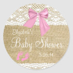 Burlap,white Lace, Pink Bow Baby Shower Classic Round Sticker at Zazzle