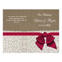 burlap white lace,pink folded Wedding program