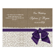 burlap white lace,purple folded Wedding program