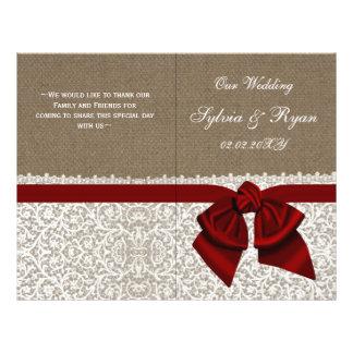 burlap white lace,red folded Wedding program