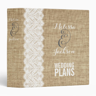 Burlap & White Lace Rustic Wedding Planner Binder