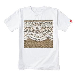 Burlap,white lace,vintage,victorian,rustic,trendy, zazzle HEART T-Shirt