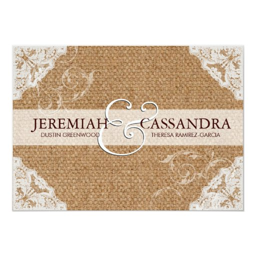 "Burlap & White Lace Wedding Invitation 5"" X 7"" Invitation Card"