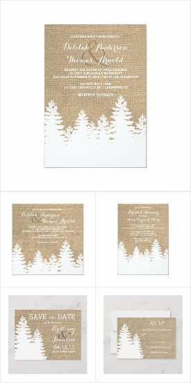 Burlap Winter Pines Rustic Wedding Invitations Custom Template