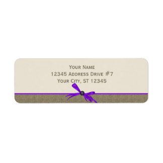 Burlap with Bow in Purple Label