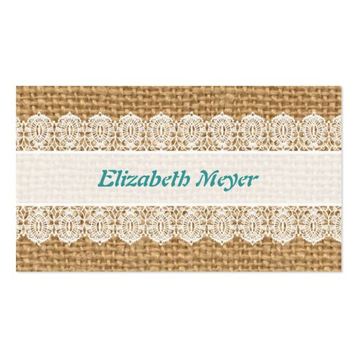 Burlap with Delicate Lace - Shabby Chic Business Card Templates