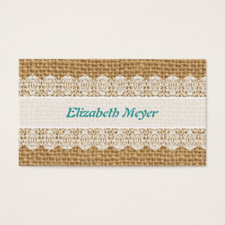 Burlap with Delicate Lace - Shabby Chic Business Card