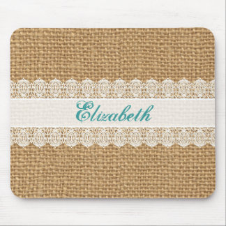 Burlap with Delicate Lace - Shabby Chic Monogram Mouse Pad