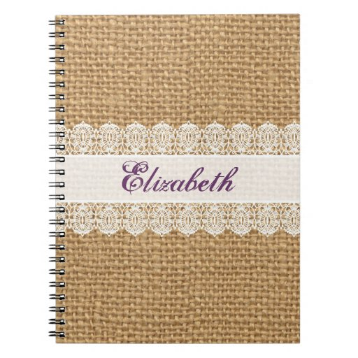 Burlap with Delicate Lace - Shabby Chic Monogram Note Book