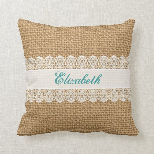 Shabby Chic Burlap Pillows : Burlap with Delicate Lace - Shabby Chic Monogram Pillow Zazzle