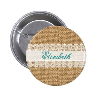 Burlap with Delicate Lace - Shabby Chic Monogram Pinback Button