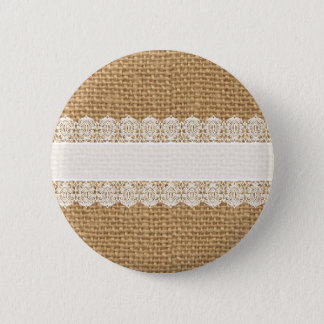 Burlap with Delicate Lace - Shabby Chic Style Button