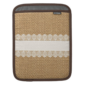 Burlap with Delicate Lace - Shabby Chic Style iPad Sleeve