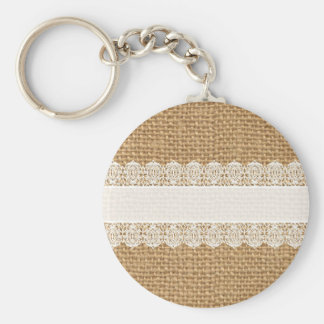 Burlap with Delicate Lace - Shabby Chic Style Keychain