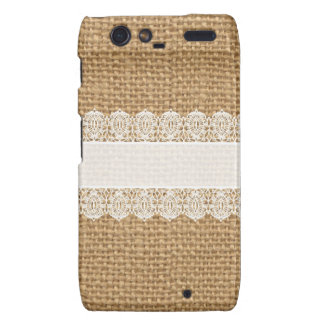 Burlap with Delicate Lace - Shabby Chic Style Motorola Droid RAZR Cover