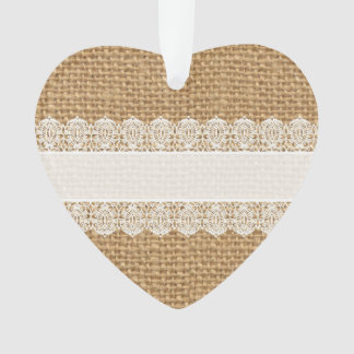Burlap with Delicate Lace - Shabby Chic Style Ornament