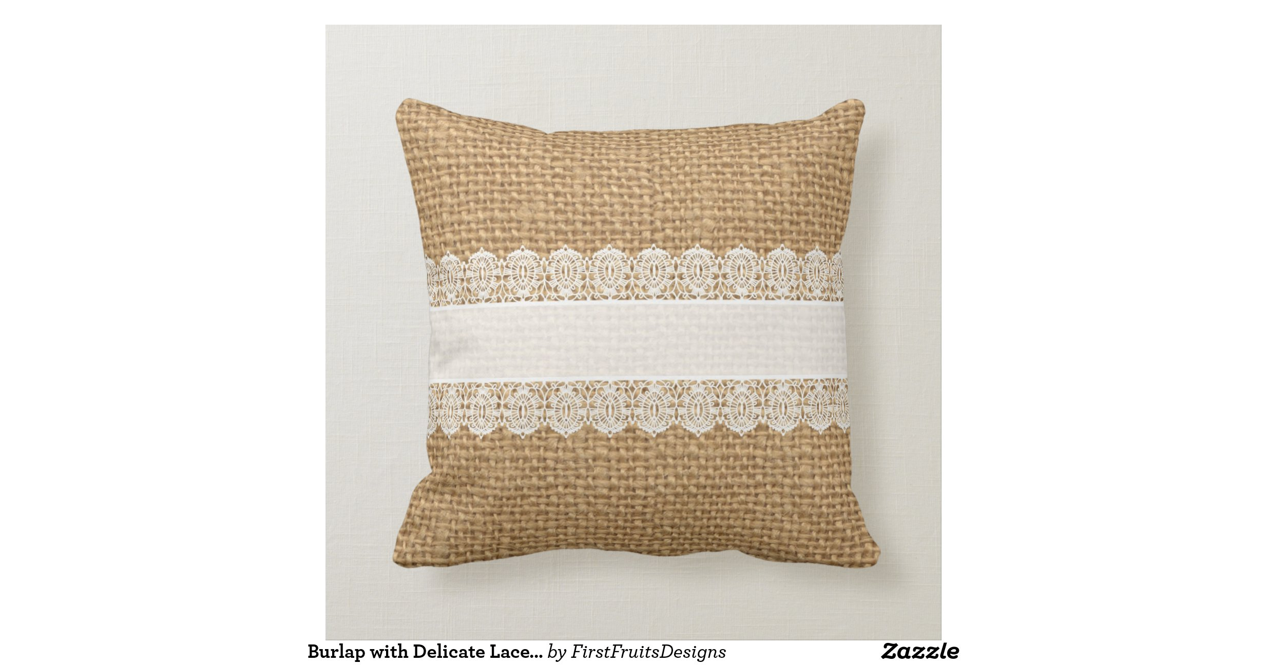 Shabby Chic Style Pillows : Burlap with Delicate Lace - Shabby Chic Style Pillow Zazzle