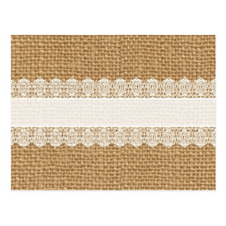 Burlap with Delicate Lace - Shabby Chic Style Postcard