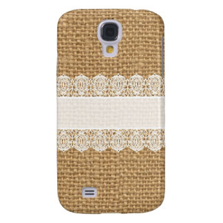 Burlap with Delicate Lace - Shabby Chic Style Samsung Galaxy S4 Case