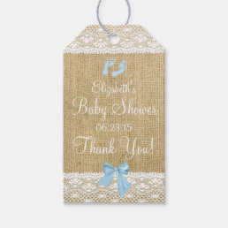 Burlap With Lace Image and Blue Bow Gift Tags