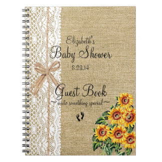 Burlap with Lace Image Sunflowers Guest Book Spiral Notebook
