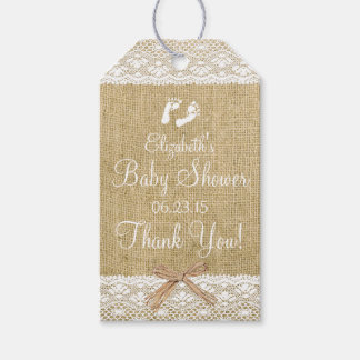 Burlap With White Lace Image White Baby Shower Pack Of Gift Tags