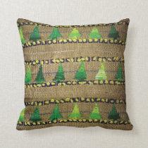Burlap & Yarn Embroidered Tree Print Throw Pillow