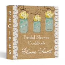 Burlap yellow hydrangeas Mason Jar Recipe Folder