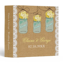 Burlap Yellow Hydrangeas Mason Jar Wedding Planner Binder