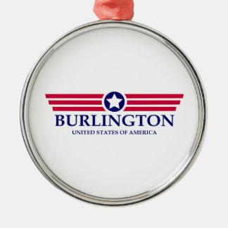 Burlington NC Pride Round Metal Christmas Ornament
