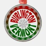 Burlington Vermont red green snowflake ornament