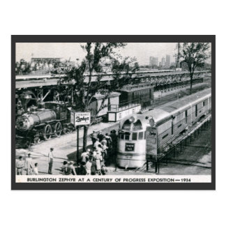 Burlington Zephyr Deco Train 1934 Vintage Postcard