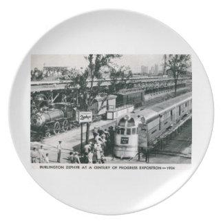 Burlington Zephyr Train Vintage Melamine Plate