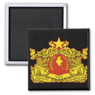 burma emblem 2 inch square magnet