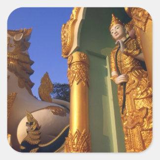 Burma (Myanmar), Rangoon (Yangon) Temple Square Stickers