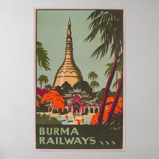 Burma Myanmar Temples | Vintage Travel Poster