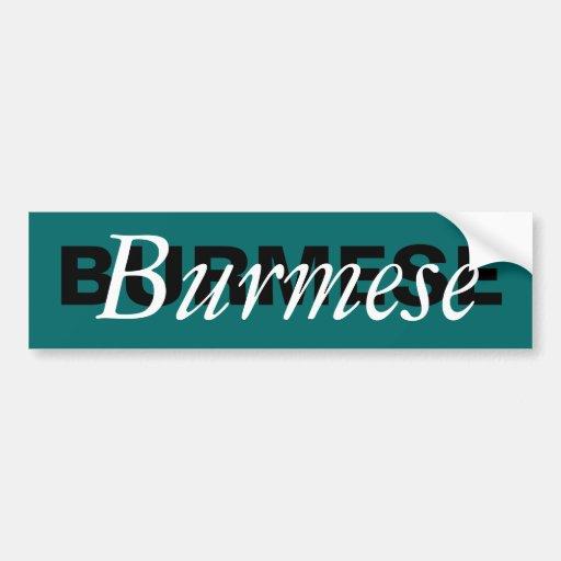 Burmese Cat Breed Monogram Bumper Sticker