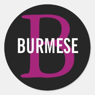 Burmese Cat Breed Monogram Classic Round Sticker