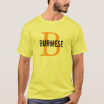 Burmese Cat Breed Monogram T-Shirt